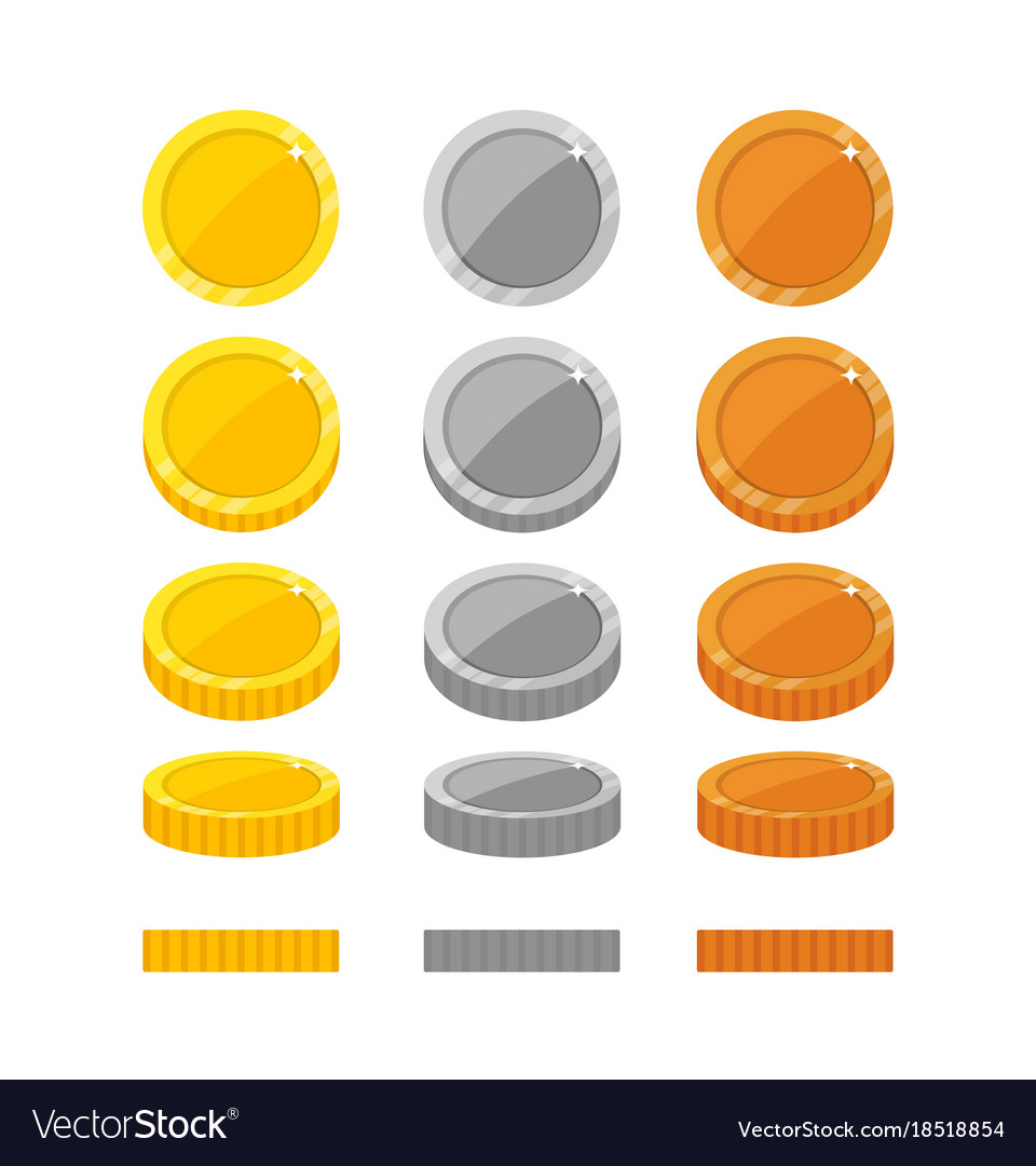Flat cartoon coins rotation frames Royalty Free Vector Image
