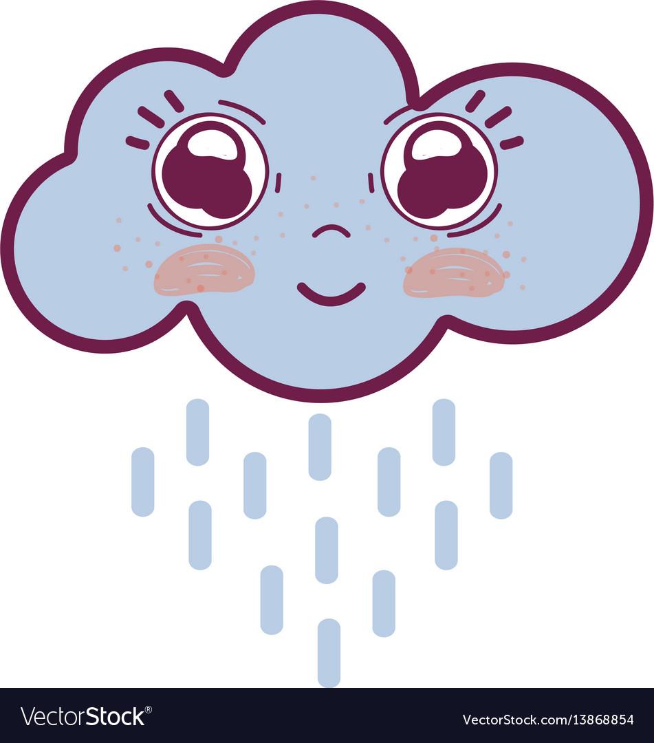 Kawaii happy cloud raining with big eyes and