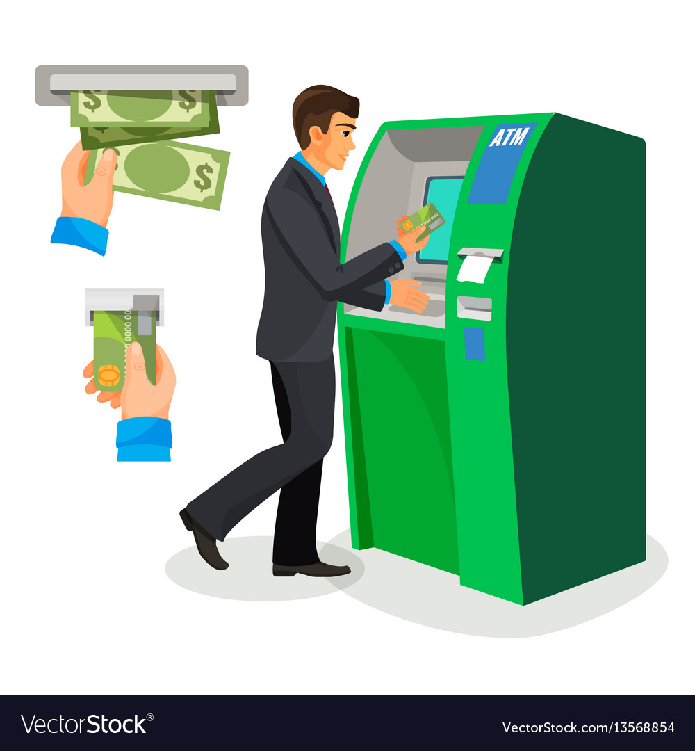Man near atm holding credit card and its usage