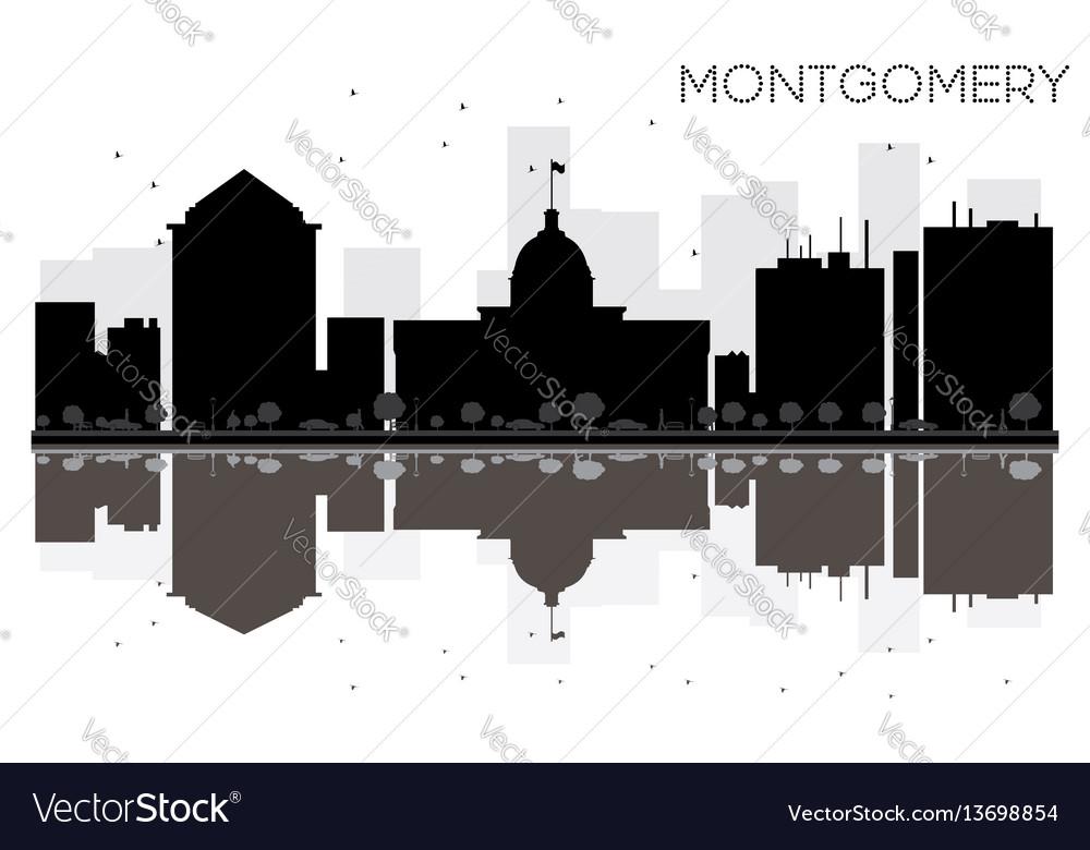 Montgomery city skyline black and white