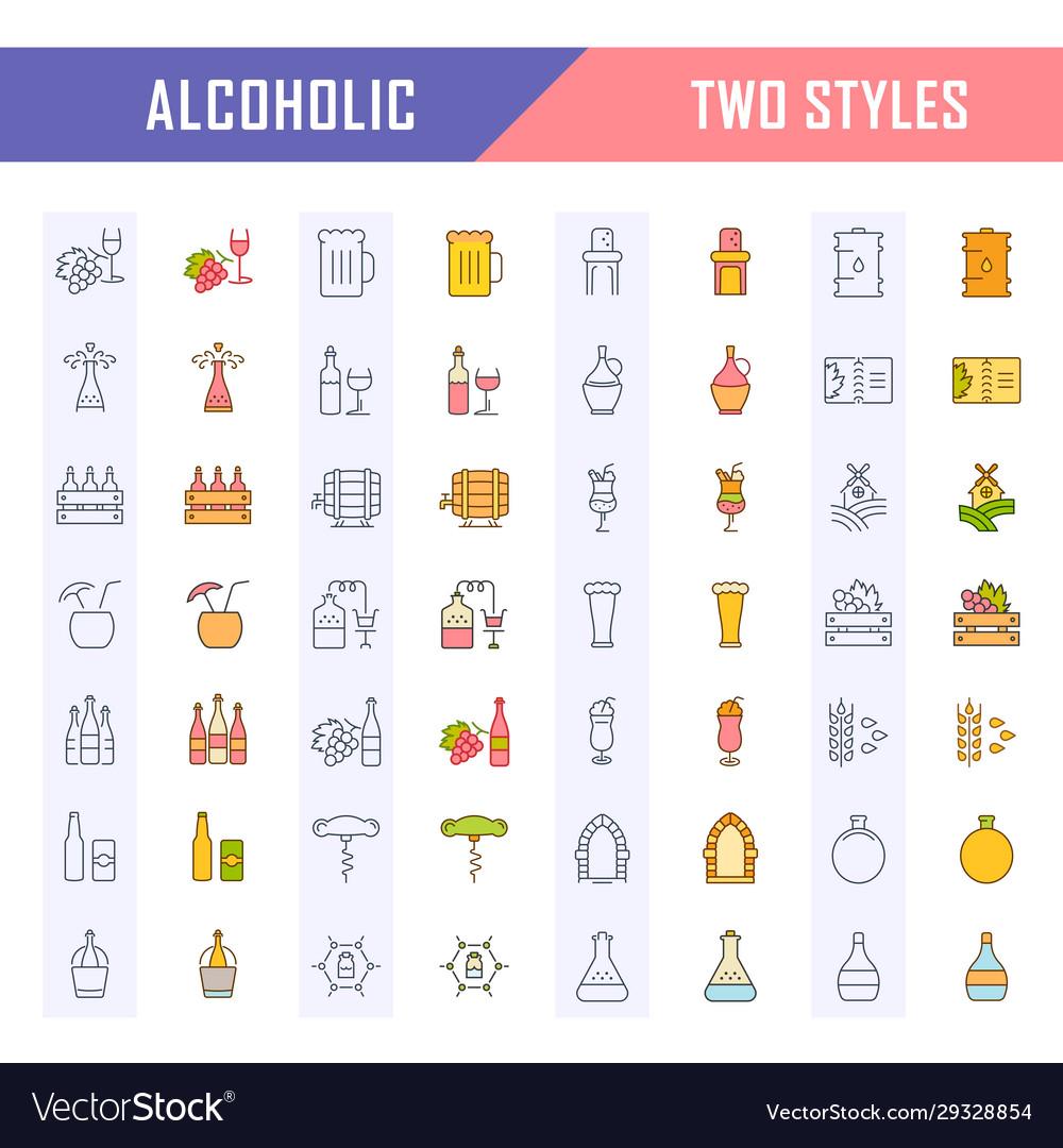 Set flat line icons alcoholic drinks
