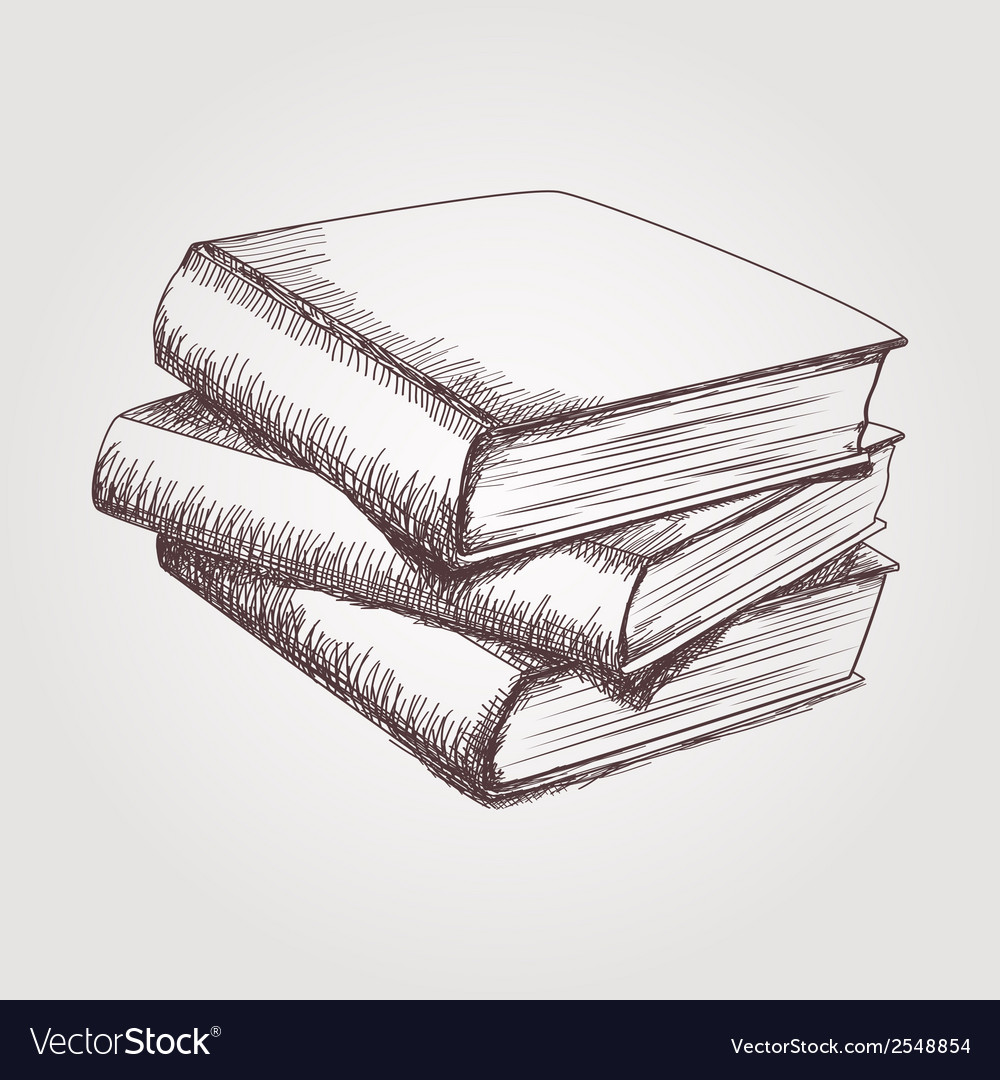 Sketch of books stack