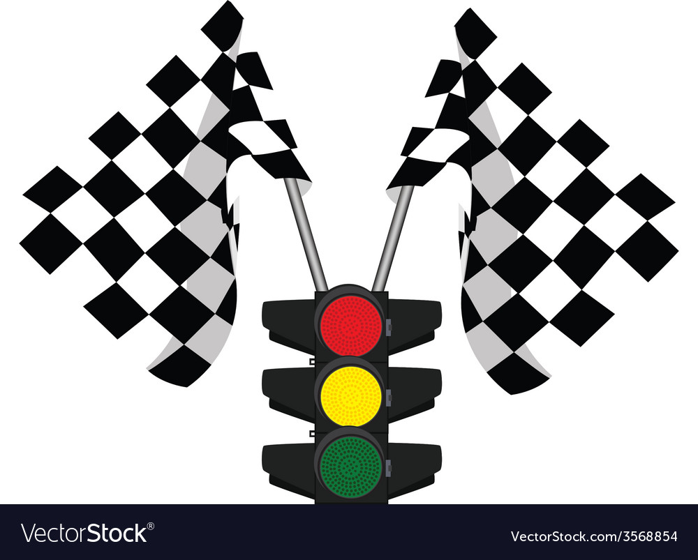 Traffic lights and finish start flag