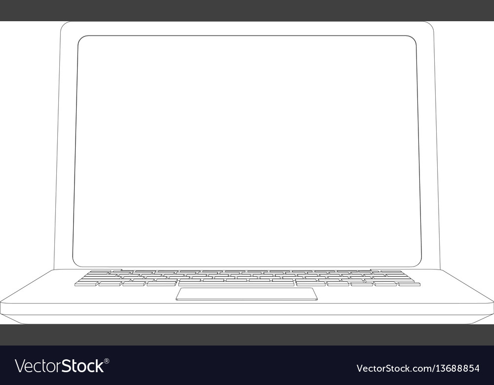 Wire-frame open laptop front view