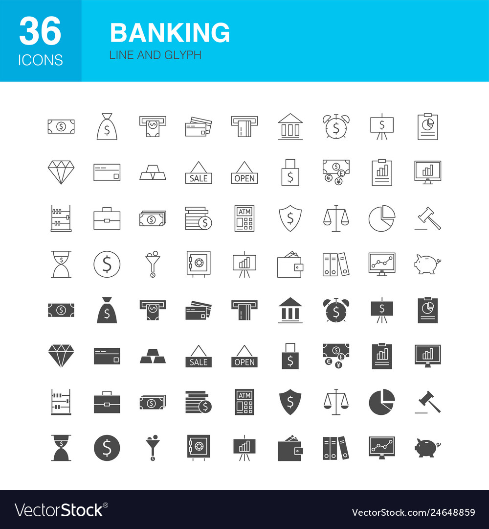Banking line web glyph icons