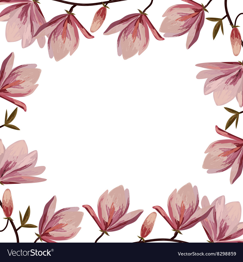 Beautiful frame with pink magnolia flowers