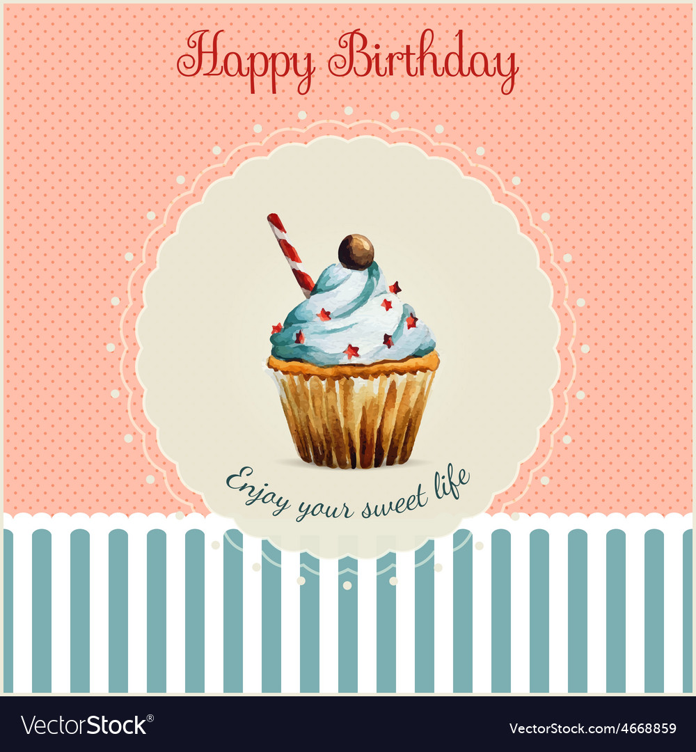 Birthday greeting card template with watercolor