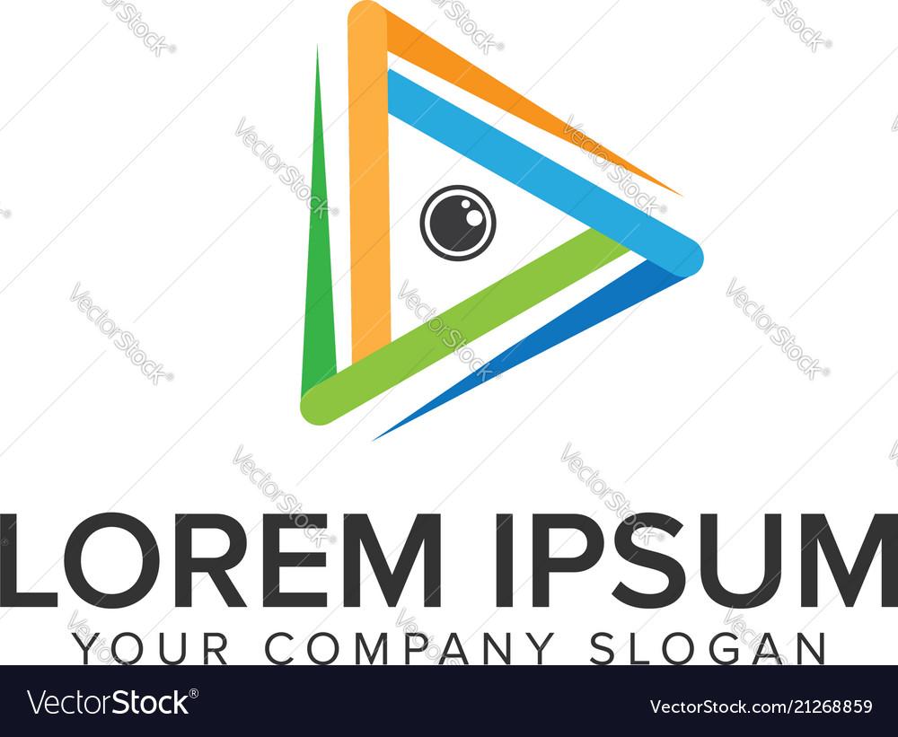 Camera lens media logo design concept template