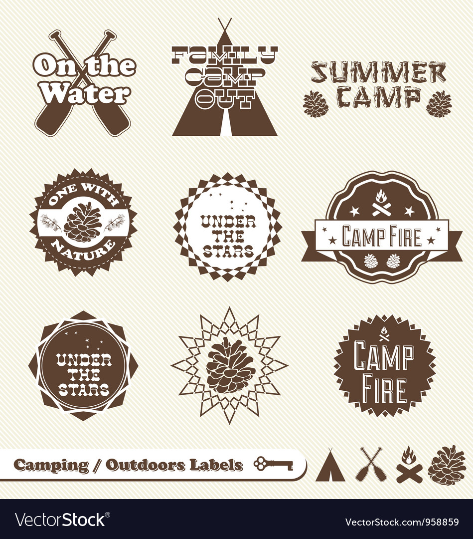 Camping Labels vector image