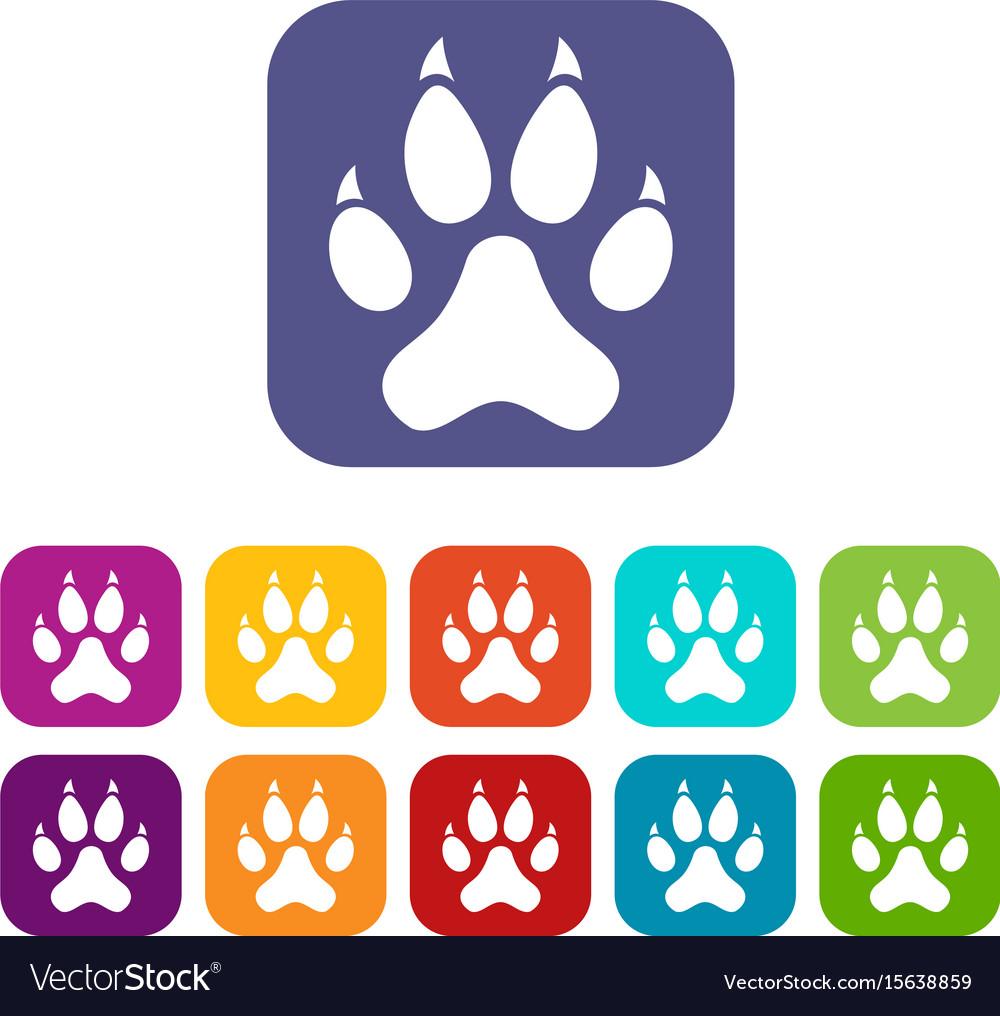 Cat paw icons set flat