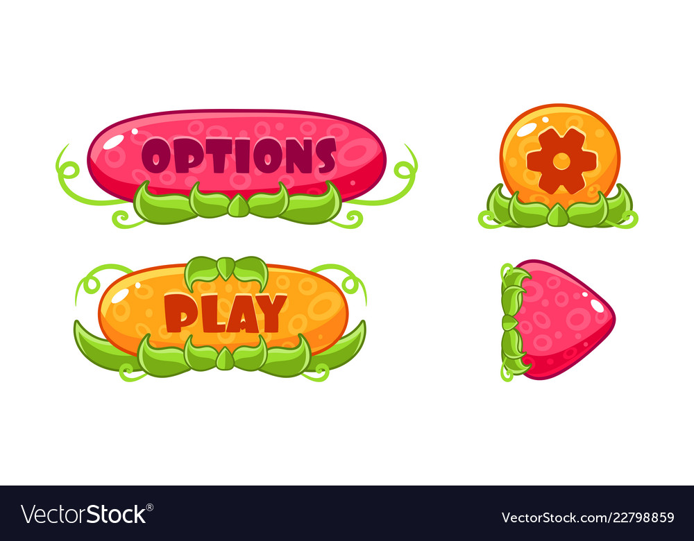Cute glossy jelly buttons set user interface