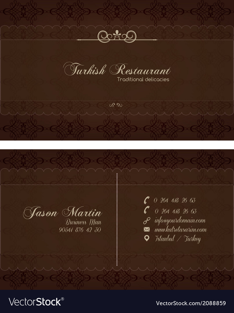 Decorative restaurant business card royalty free vector decorative restaurant business card vector image reheart Gallery