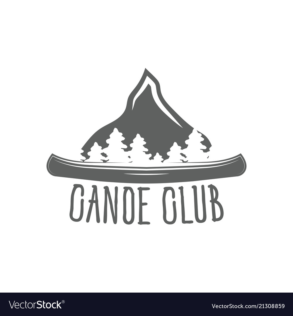 Emblem canoe club logo from forest of tmountain