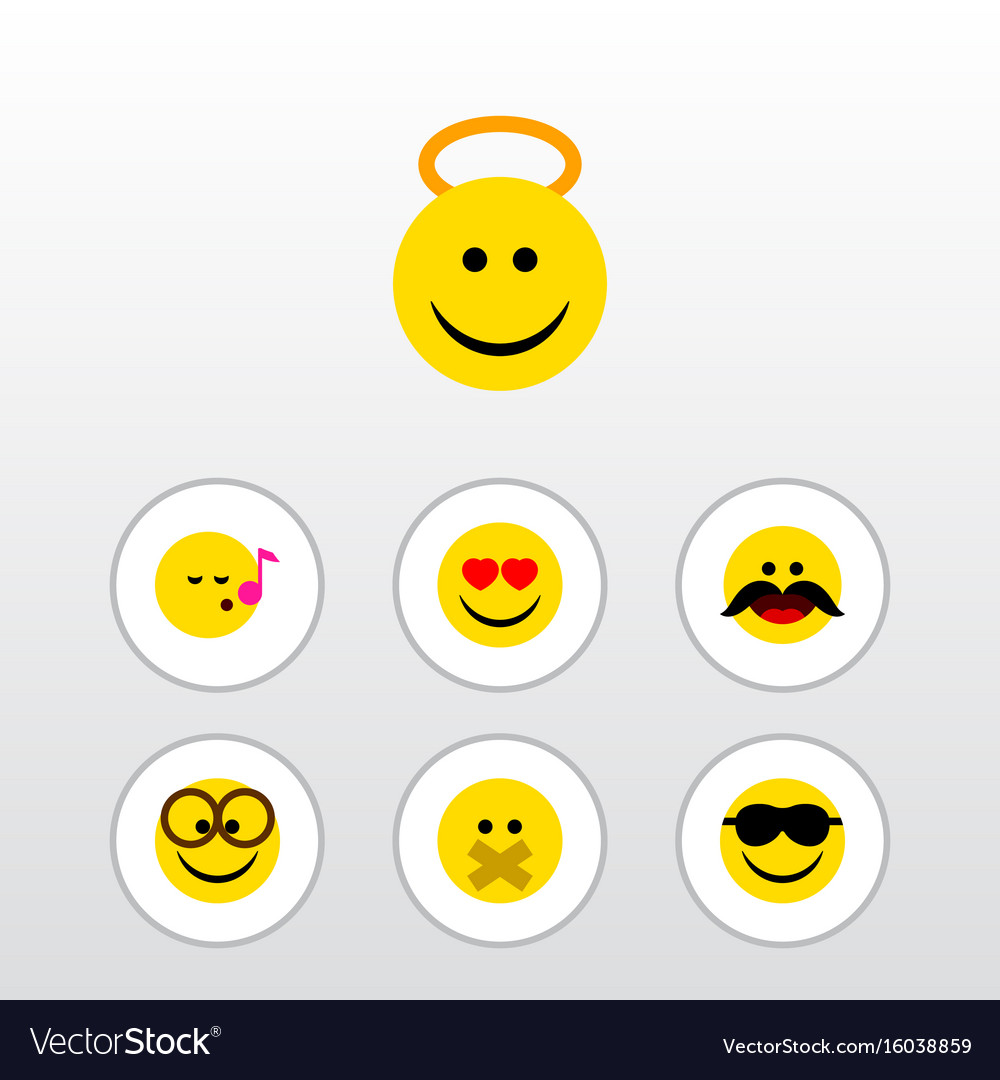Flat icon face set of cheerful angel pleasant vector image