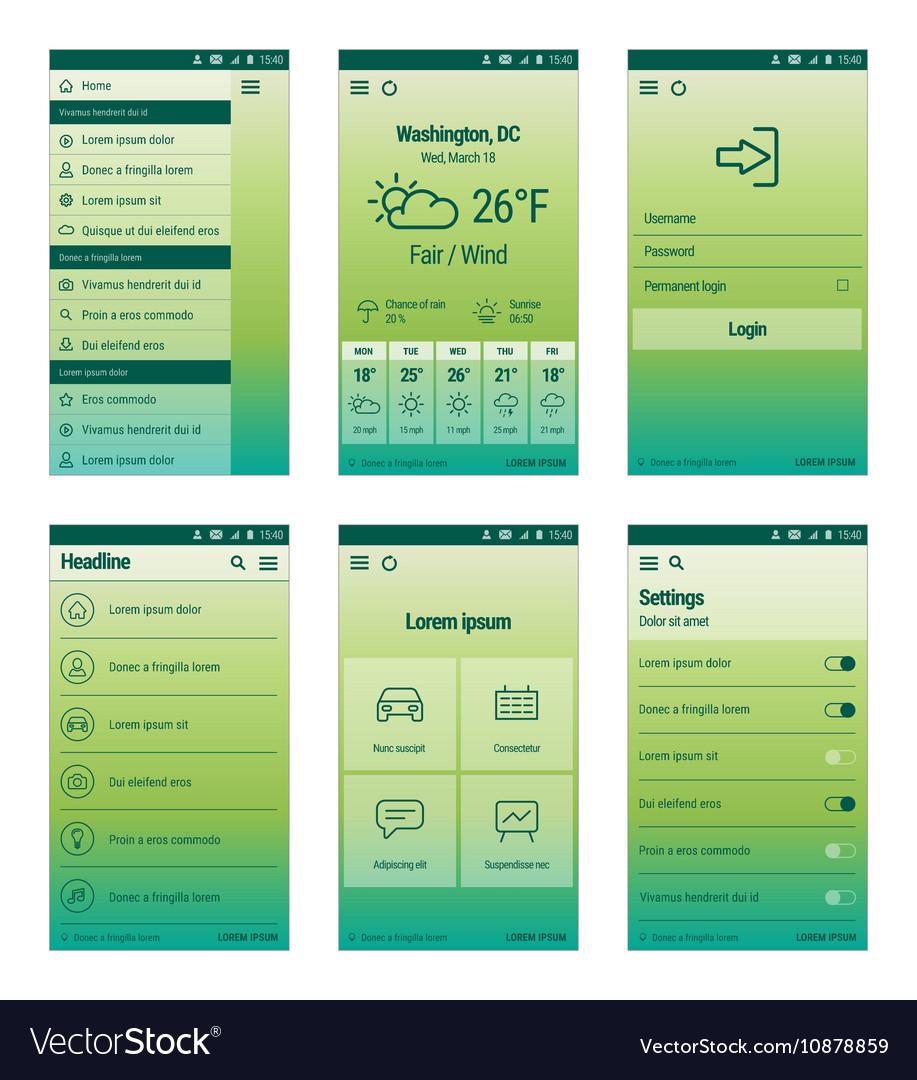 Green set mobile user interface design