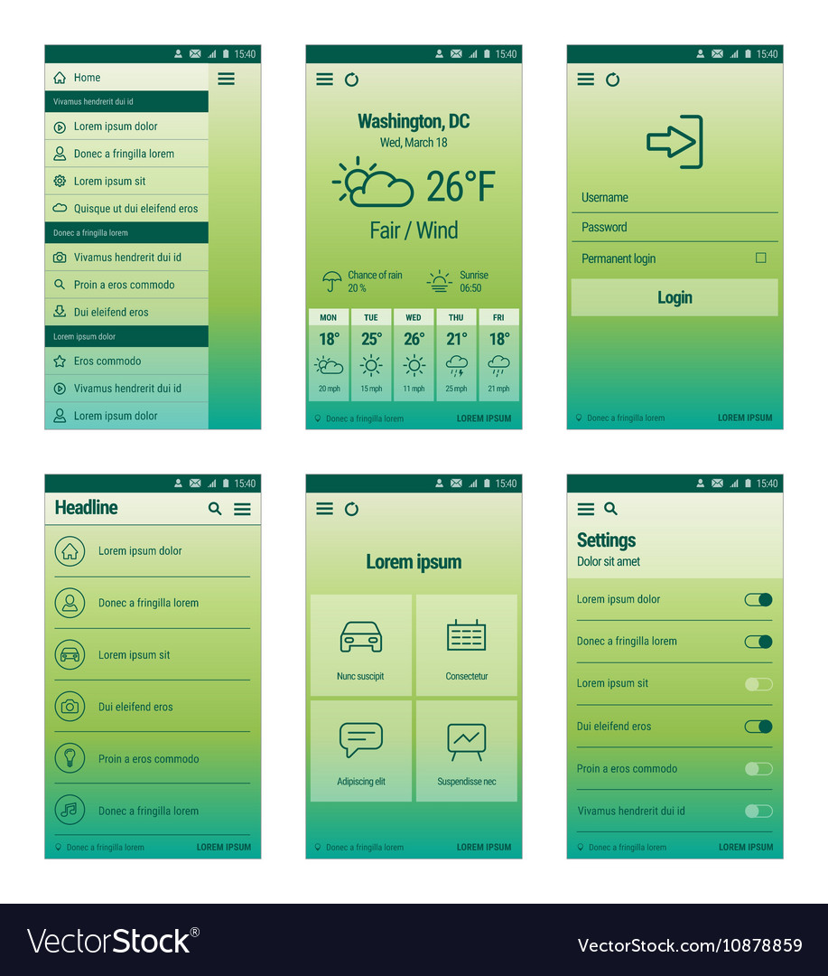 Green set of mobile user interface design