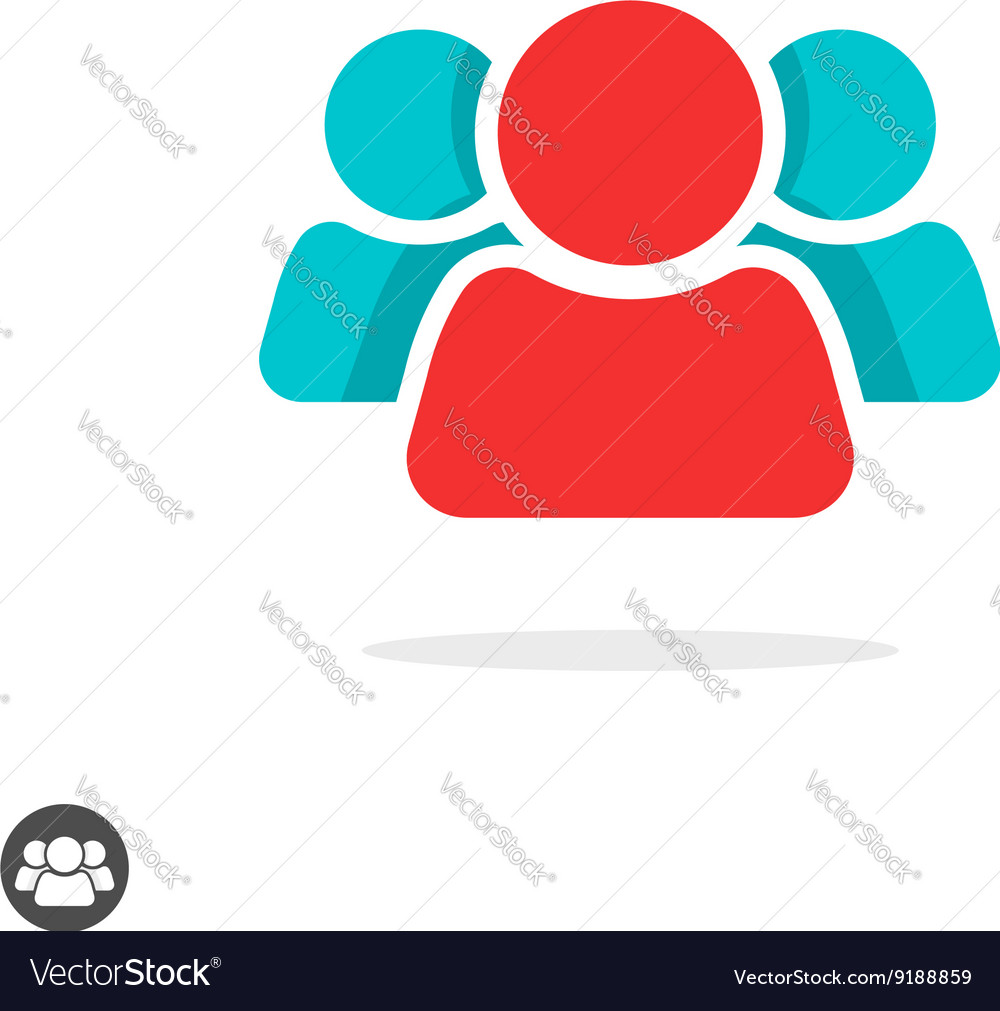 Group of three people icon isolated leader