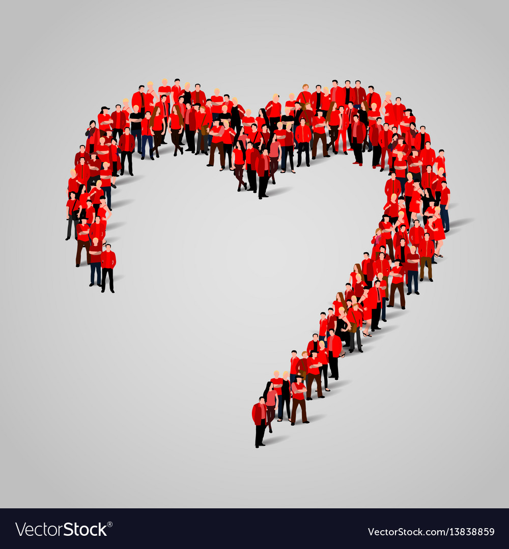 Large group of people in the heart shape