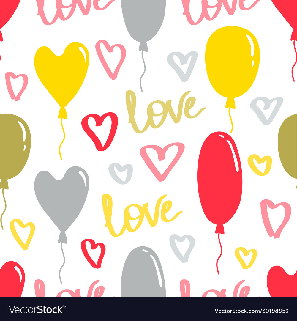 Love pattern with balloons and hearts