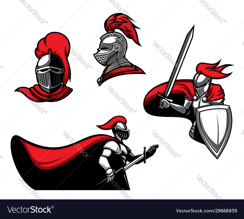 Medieval knights with sword in armour