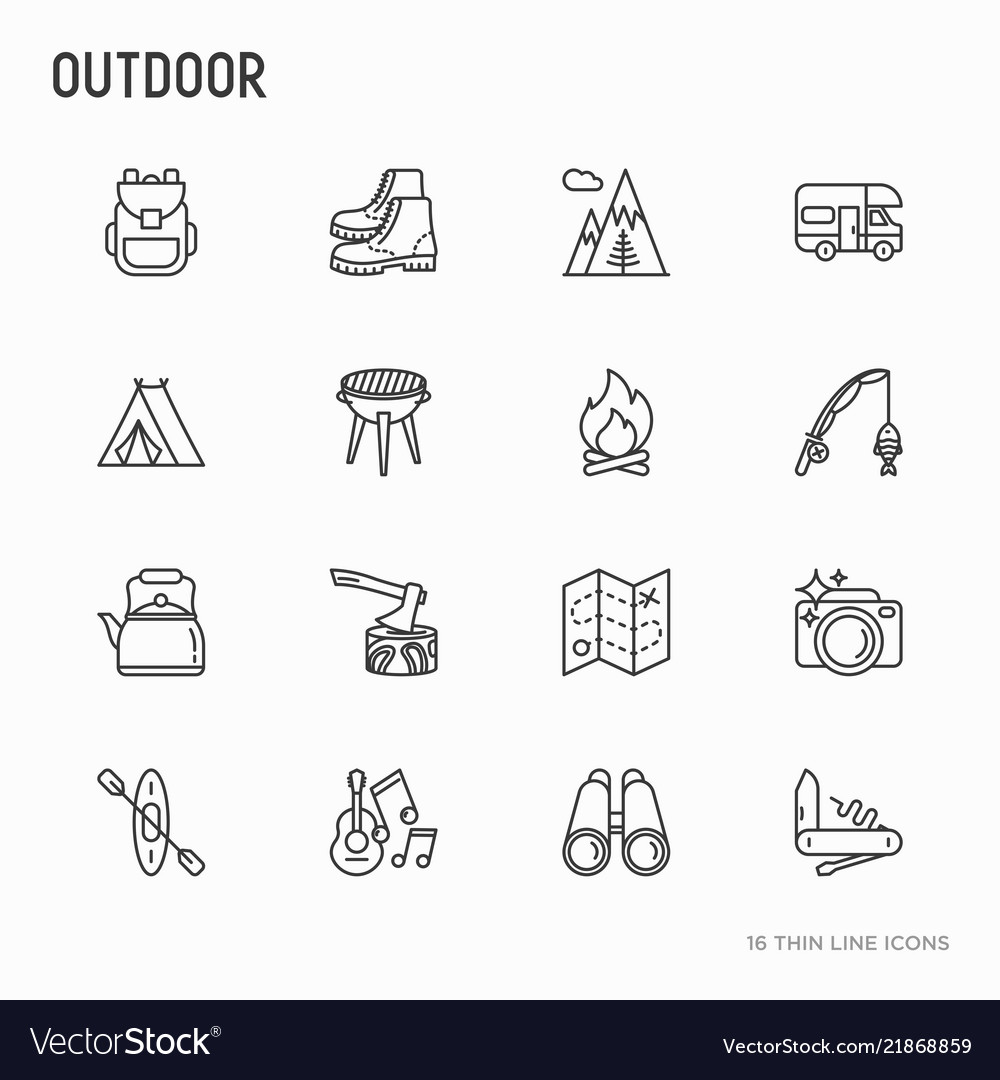 Outdoor thin line icons set
