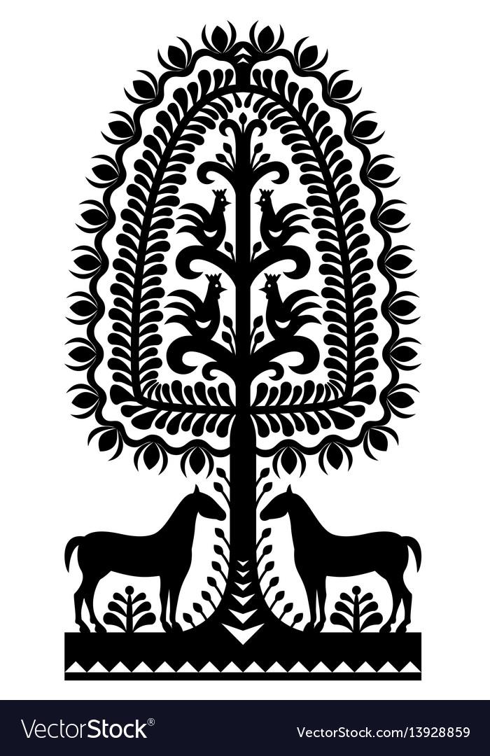 Polish folk art pattern wycinanki kurpiowskie in b