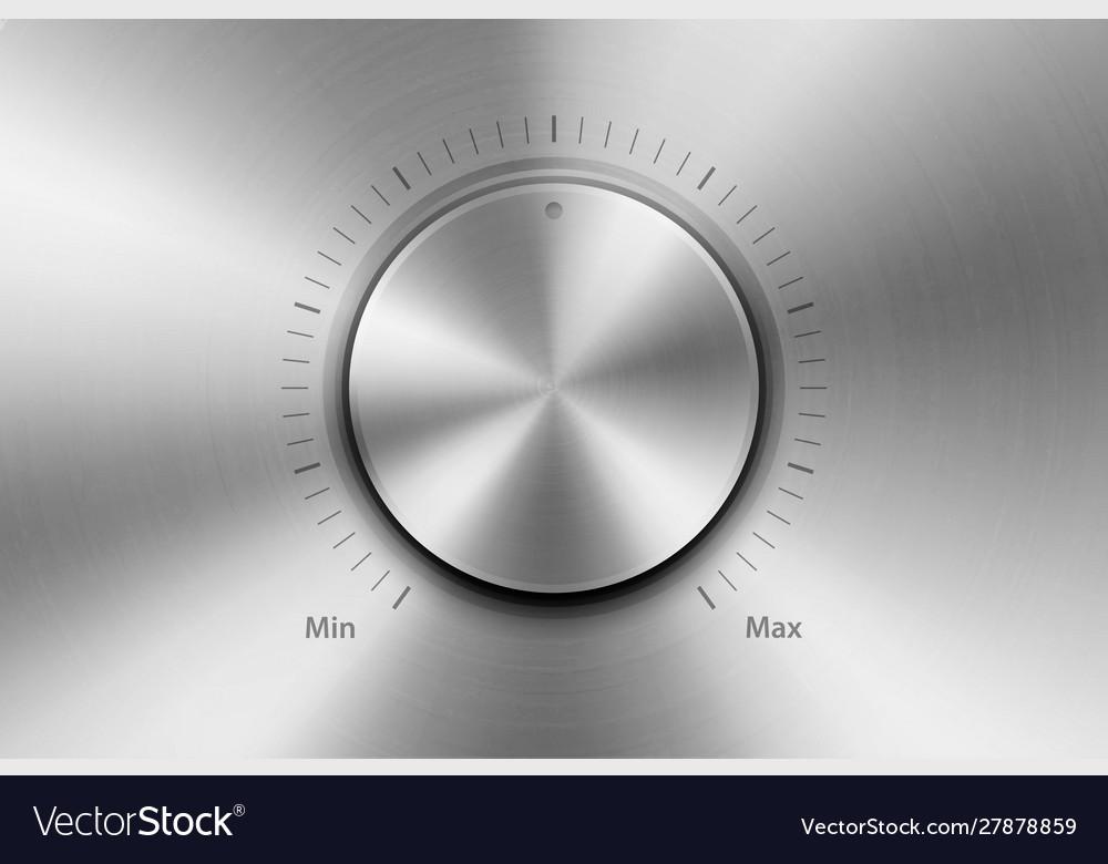 Realistic metallic steel chrome silver knob