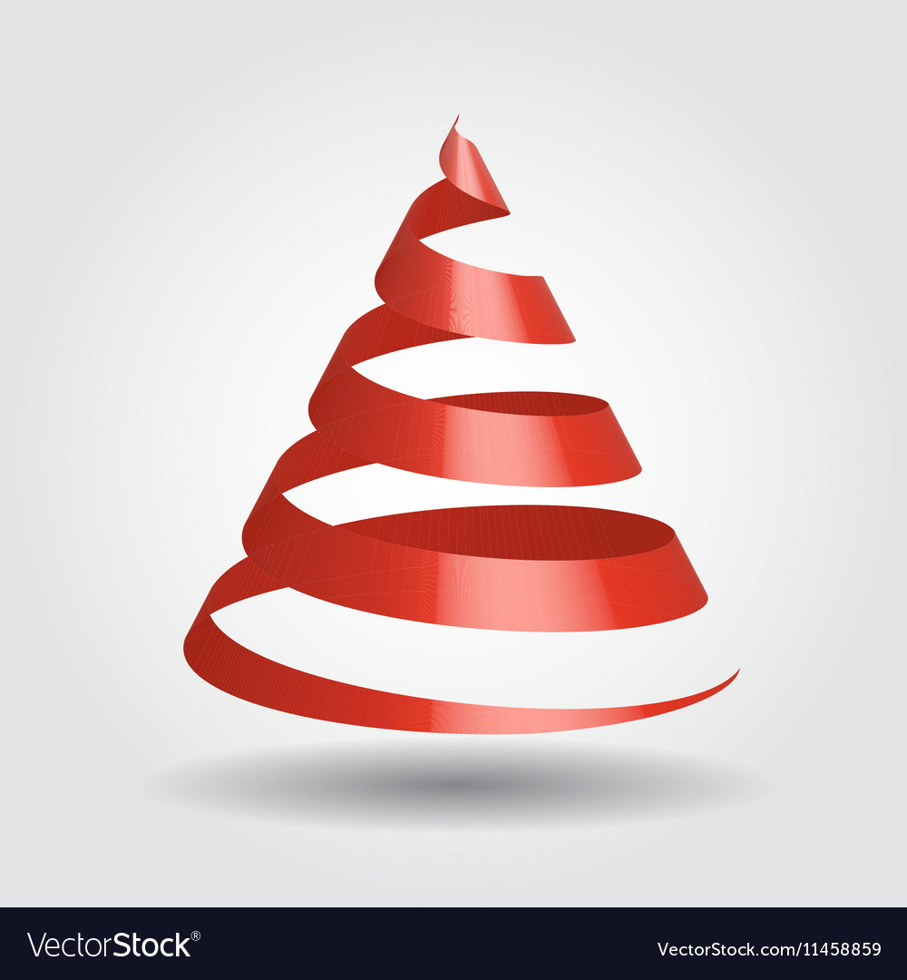 Christmas Tree With Red Ribbon: Red Ribbon In A Shape Of Christmas Tree Royalty Free Vector