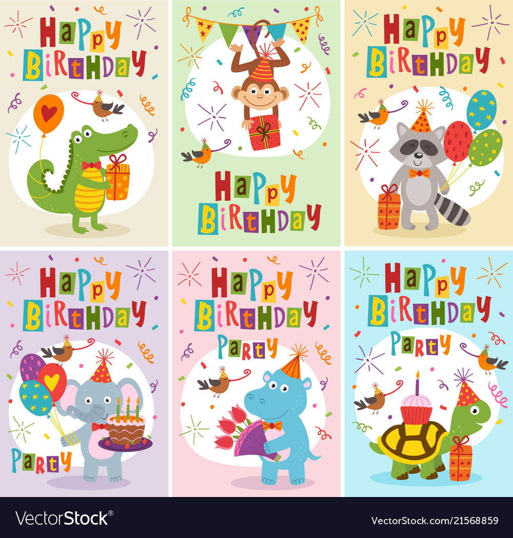 Set of greeting cards birthday with animals