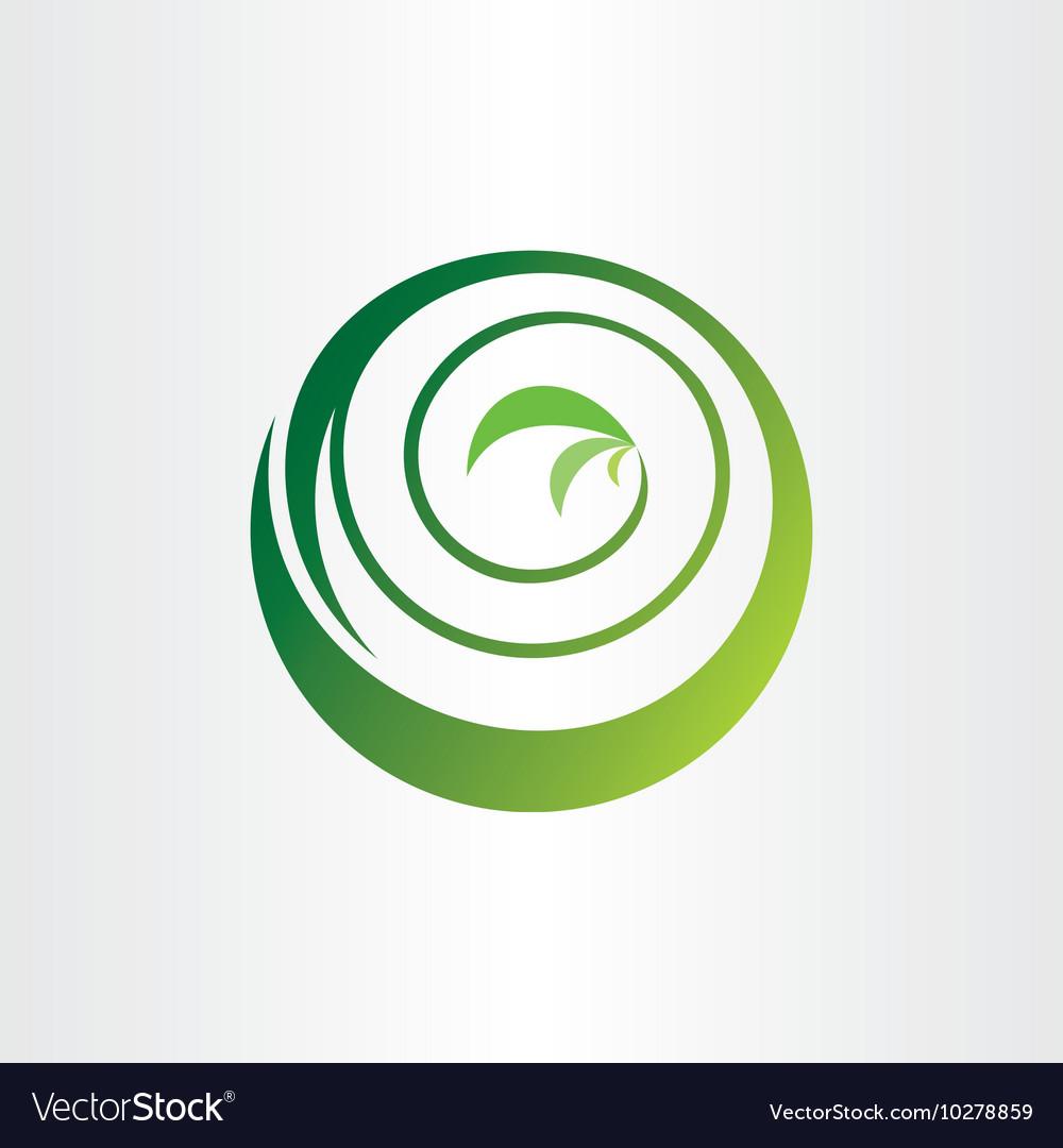Spiral bio circle plant ecology green icon logo vector image