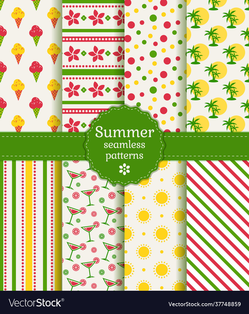 Summer seamless patterns collection