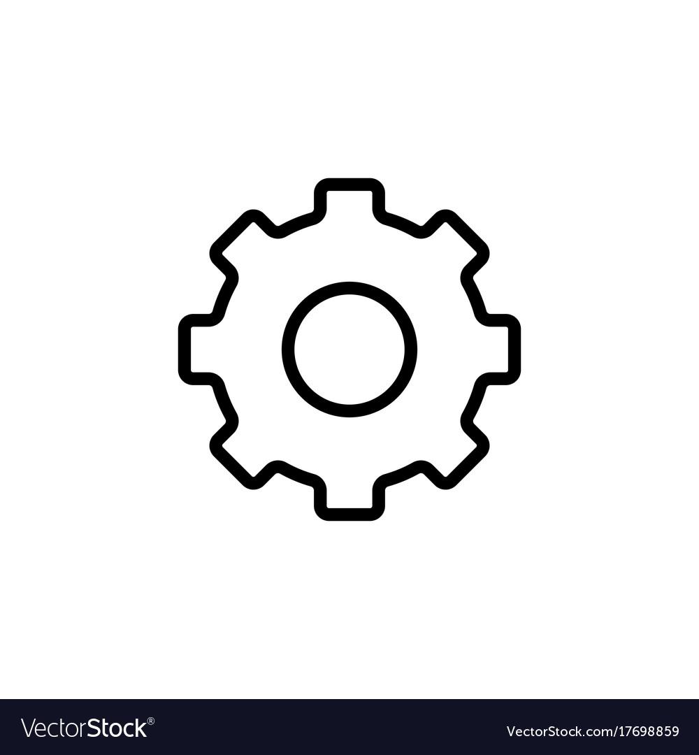 thin line settings gear icon royalty free vector image rh vectorstock com gear icon vector white gear shift icon vector