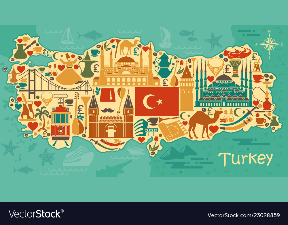 Traditional tourist symbols of turkey in the form