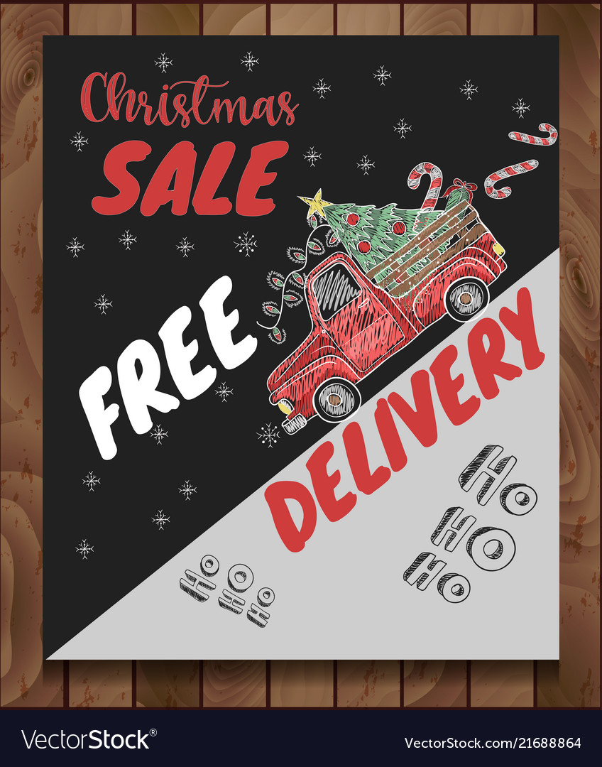Banner of christmas sale with elements