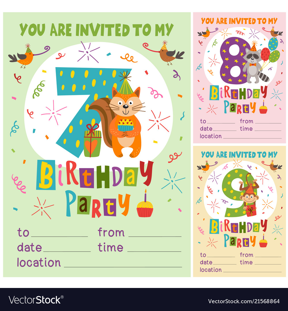 Birthday invitation card template with animals Vector Image