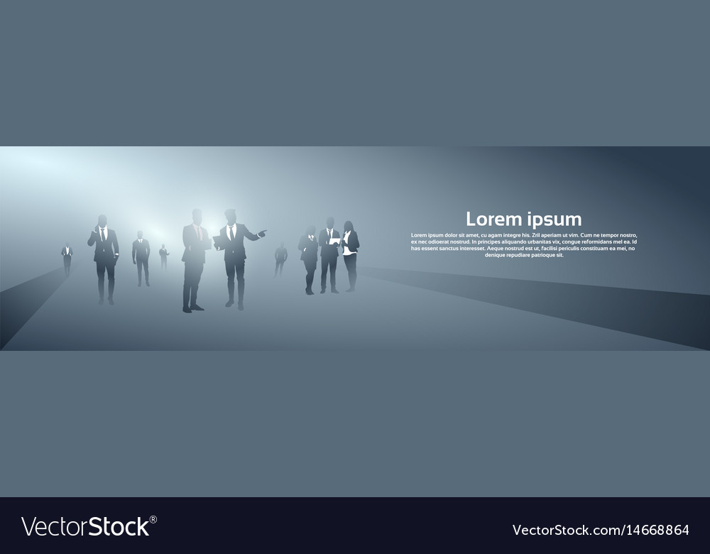 Business people group silhouette team vector image