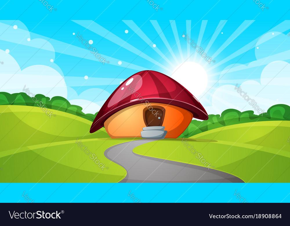 Cartoon landscape with mushroom house sun cloud
