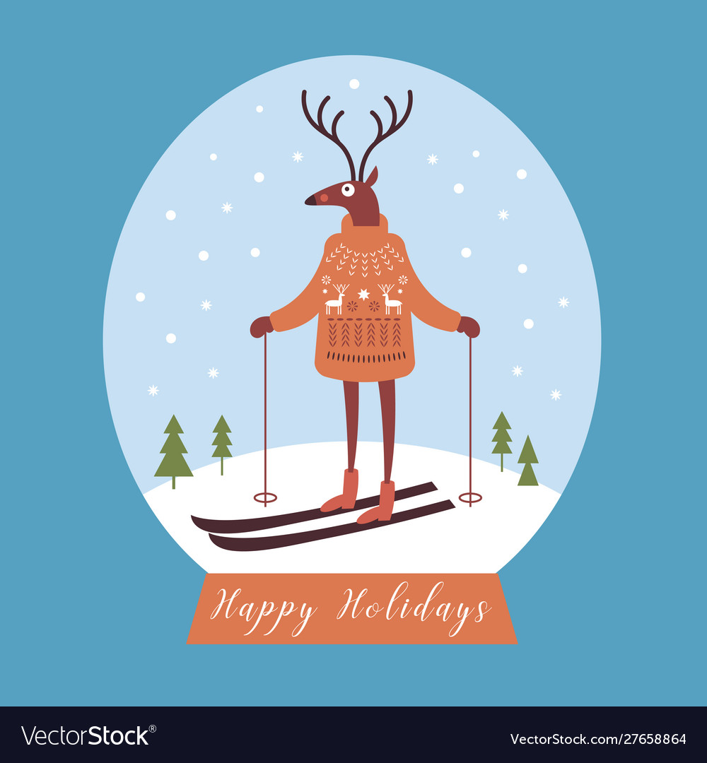 Christmas card deer in warm knitted sweater ski