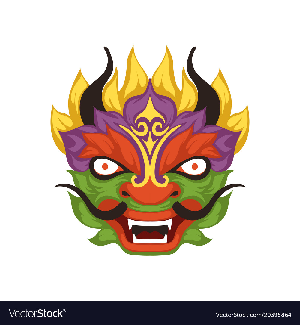 colorful dragon head symbol of chinese royalty free vector