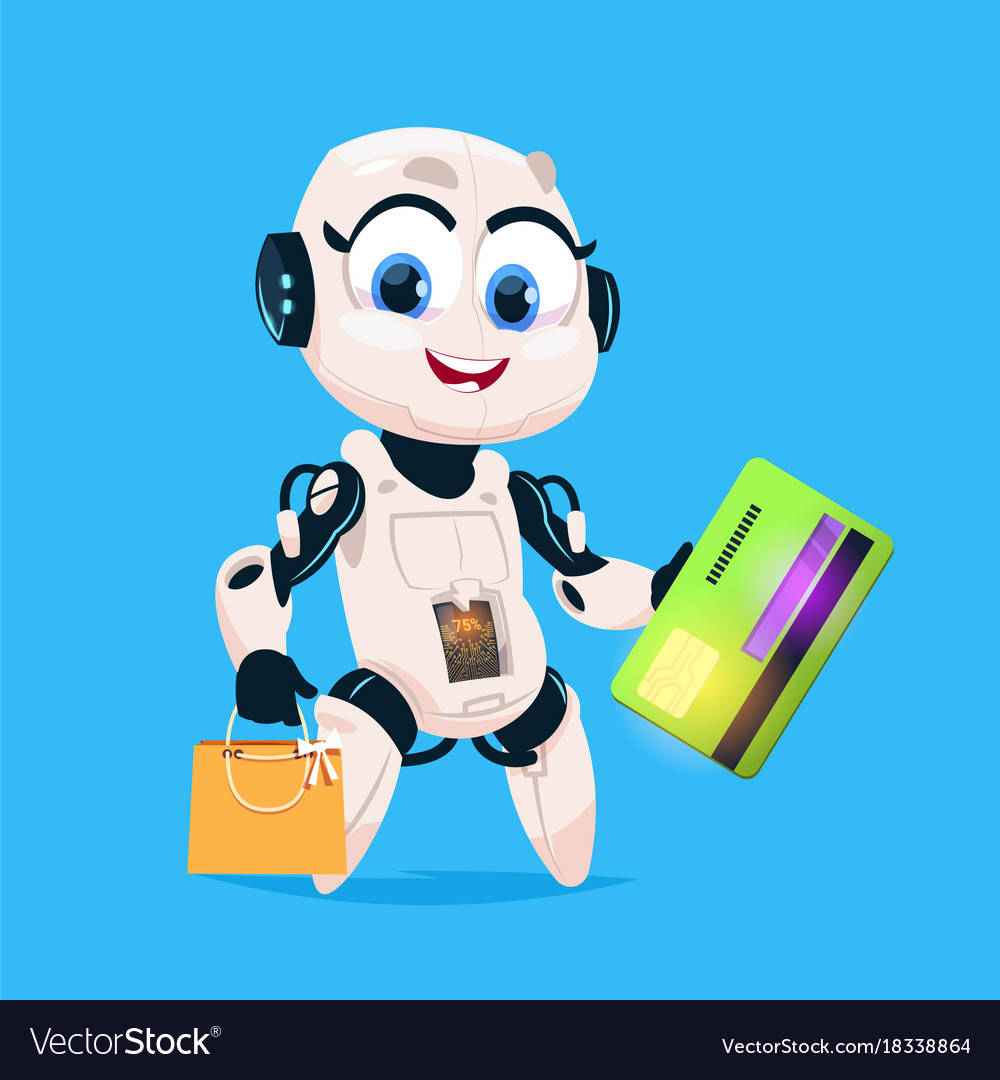 Cute Robot Hold Greeting Card And Shopping Bags Vector Image