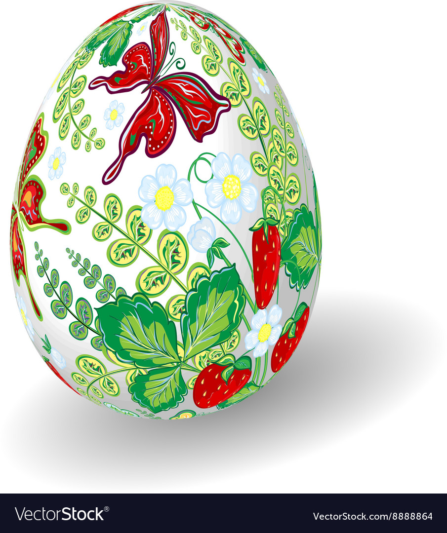 Easter egg with bright floral pattern Strawberry
