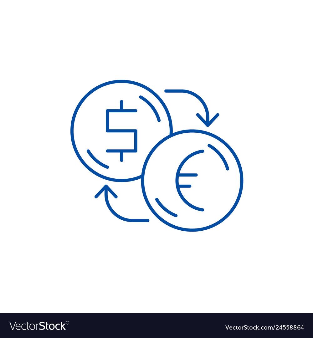 Euros Line Icon Concept Vector Image
