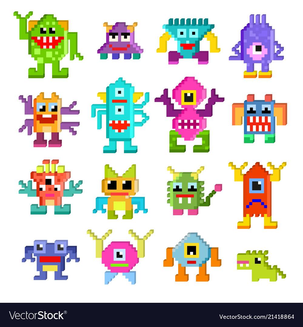 Monster alien cartoon pixel monstrous