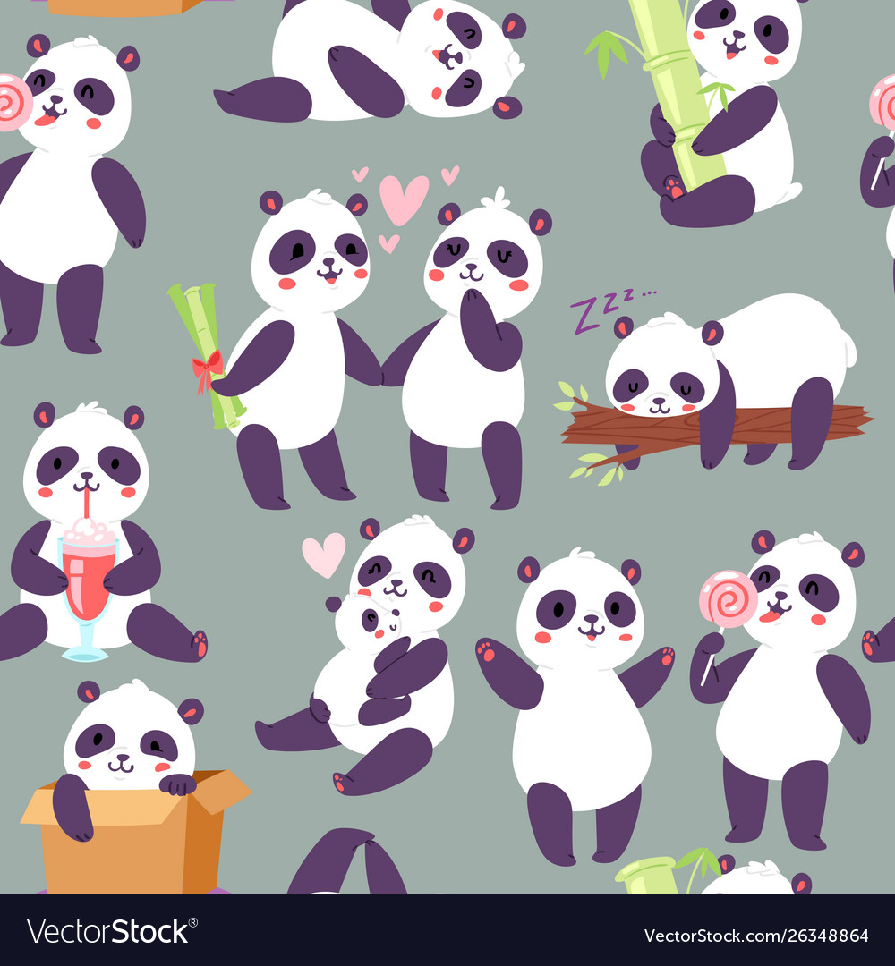 Panda characters in different positions seamless