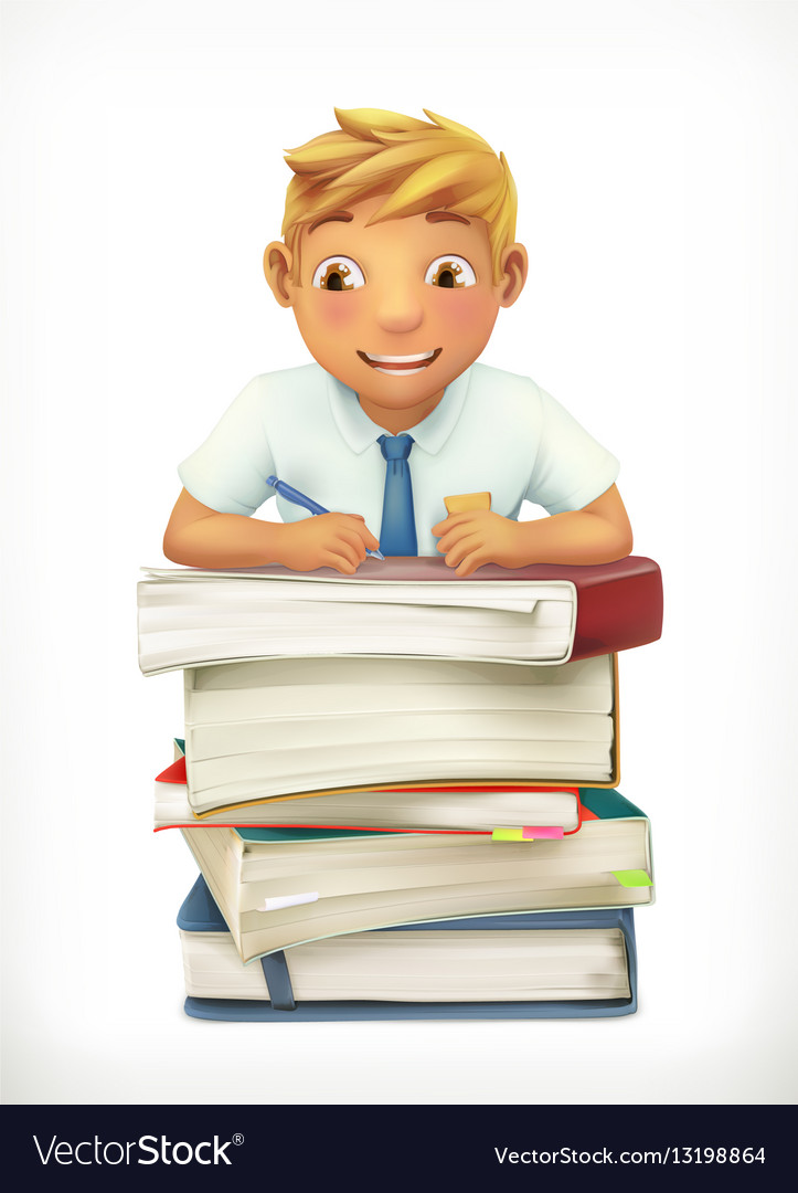 Pupil and school textbooks Little boy cartoon