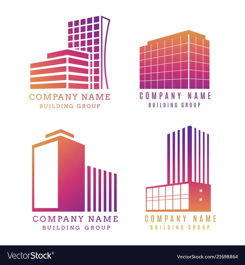Real estate logo set modern building