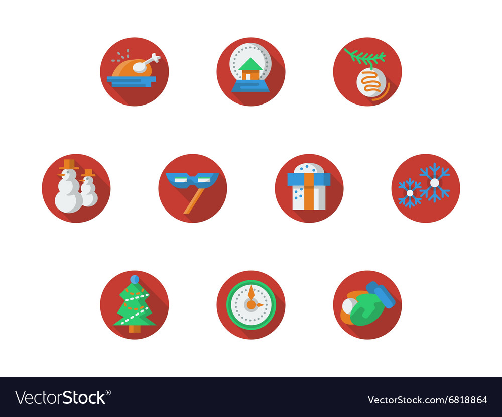 Round red Christmas and New Year icons set