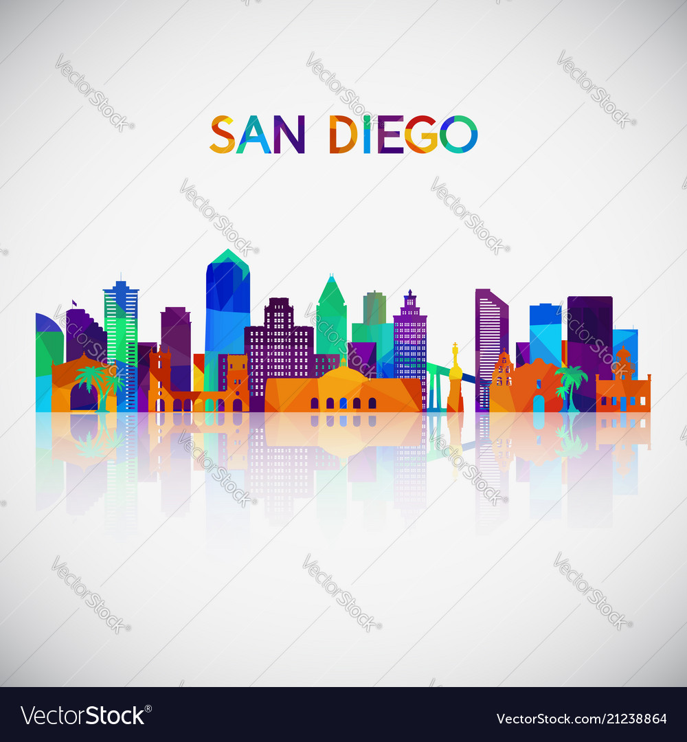 San diego skyline silhouette in colorful