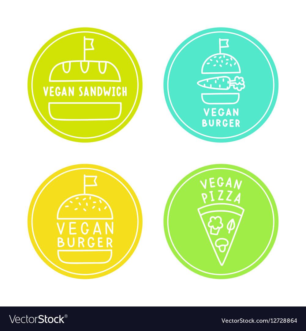 Vegan food badges Burgers pizza sandwich