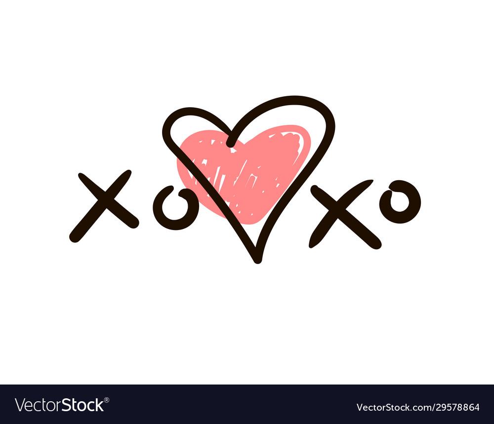 Xoxo icon or logo with heart